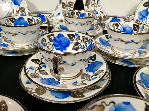 Gray's Pottery / 1920's Tea Set For People / Blue & Silver Trio's Antique